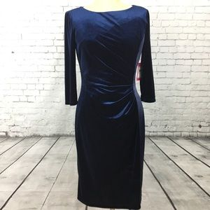Vince Camuto size 8 blue velvet velour dress NEW